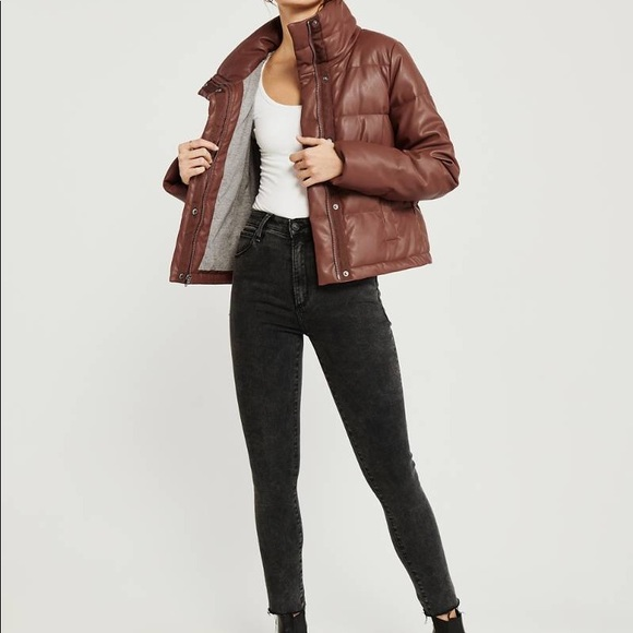 Elevated Faux leather puffer: Abercrombie & Fitch